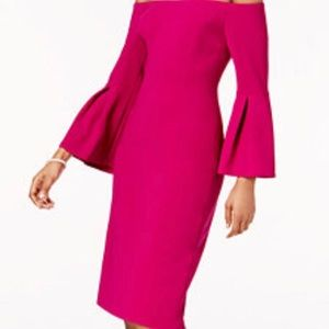 Vince Camuto Off-The-Shoulder Bell Sleeve Dress